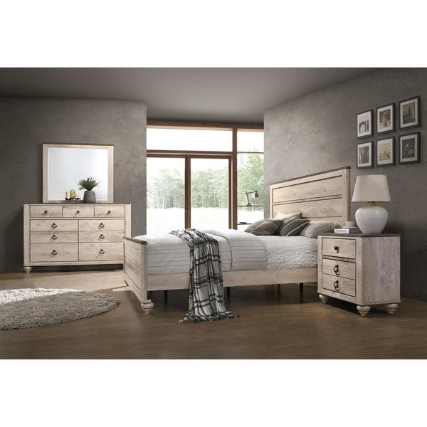 Imerland Contemporary White Wash Finish 4-Piece Bedroom Set, King