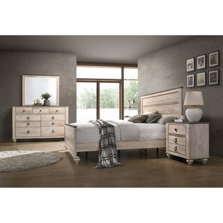 Imerland Contemporary White Wash Finish 4-Piece Bedroom Set, King