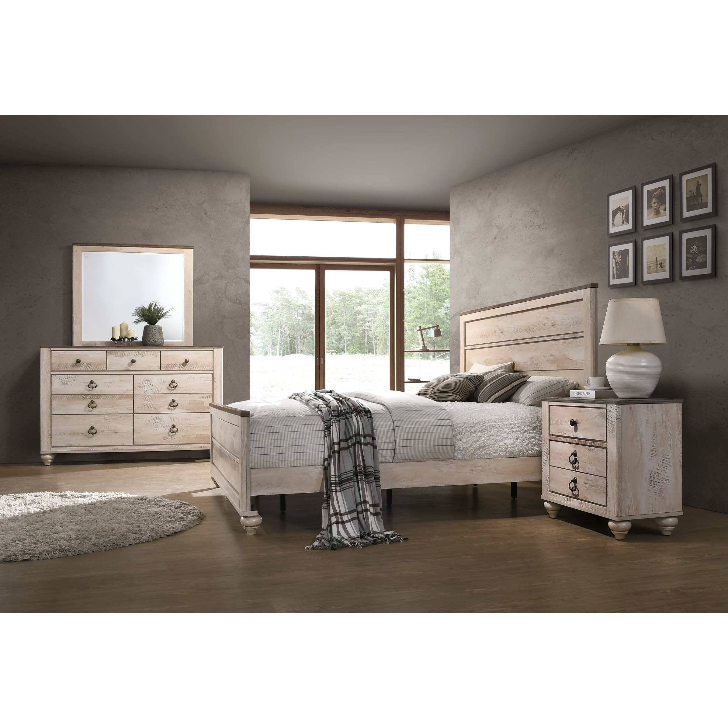 Imerland Contemporary White Wash Finish 4-Piece Bedroom Set, Queen