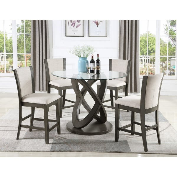 Cicicol 5 Piece Glass Top Counter Height Dining Table With Chairs,Gray