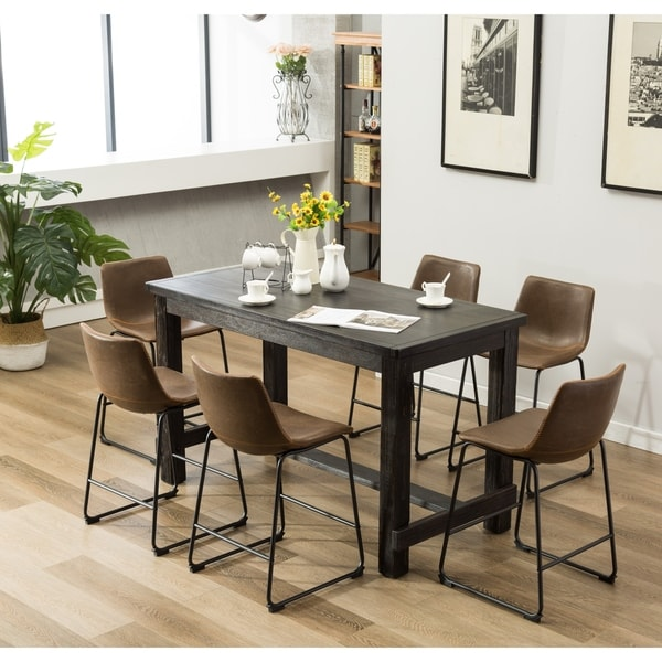 Stanton Counter Height Dining Table In Black: Shop Lotusville 7-PC Counter Height Black Wood Dining