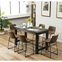 Lotusville 7-PC Counter Height Black Wood Dining Table with 6 Chairs