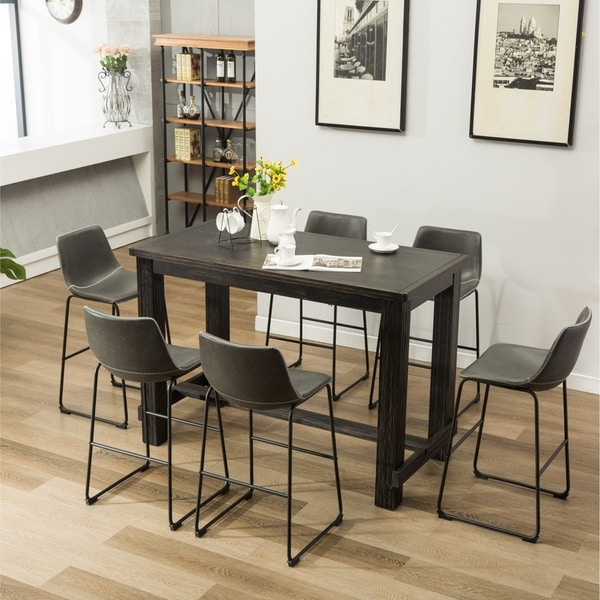 Lotusville 7-PC Antique Black Wood Table with Faux Leather Barstools