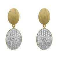 14k Yellow Gold 3/4ct TDW Pave Diamond and Textured Oval Drop Earrings