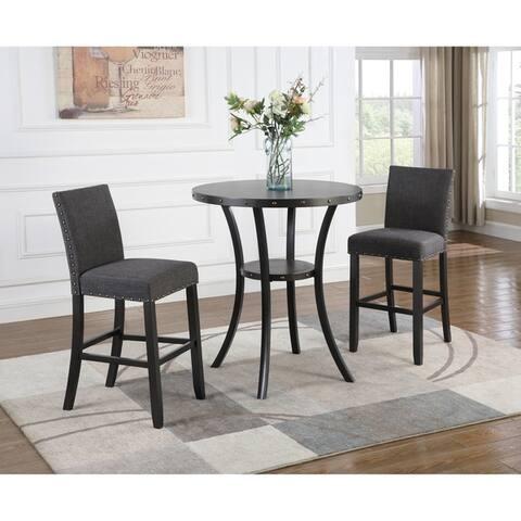 "Biony 3-Piece 36"" Round Espresso Bar Table with 2 Nail Head Barstools"