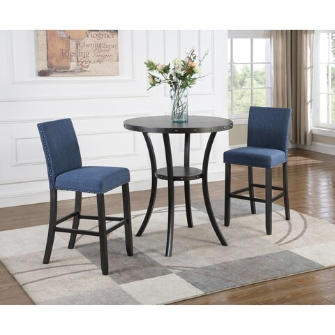 "Biony 3-Piece 36"" Round Espresso Bar Table with 2 Nail Head Barstools"