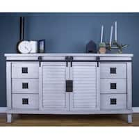 Southport Grey Farmhouse Barndoor Wood and Metal Buffet Cabinet