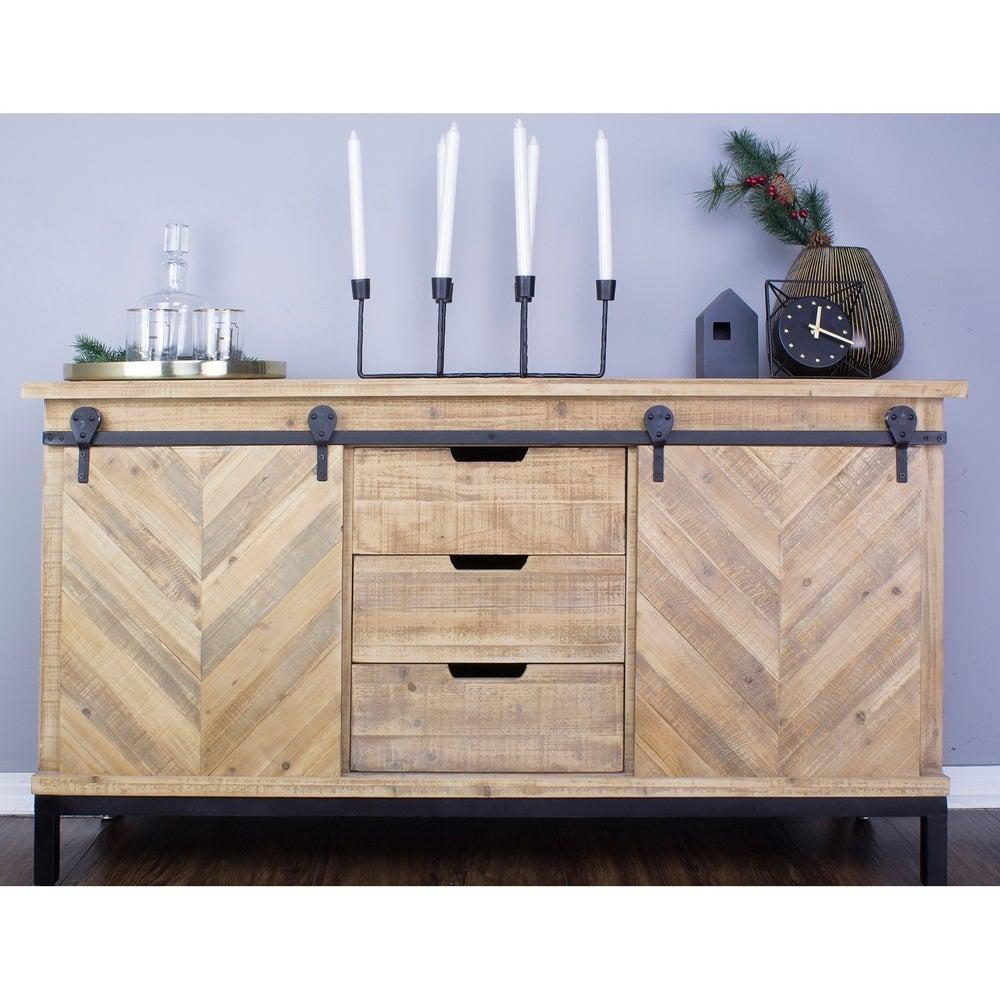 Overstock Knightsbridge Barndoor Mid Century Wood and Metal Buffet Cabinet
