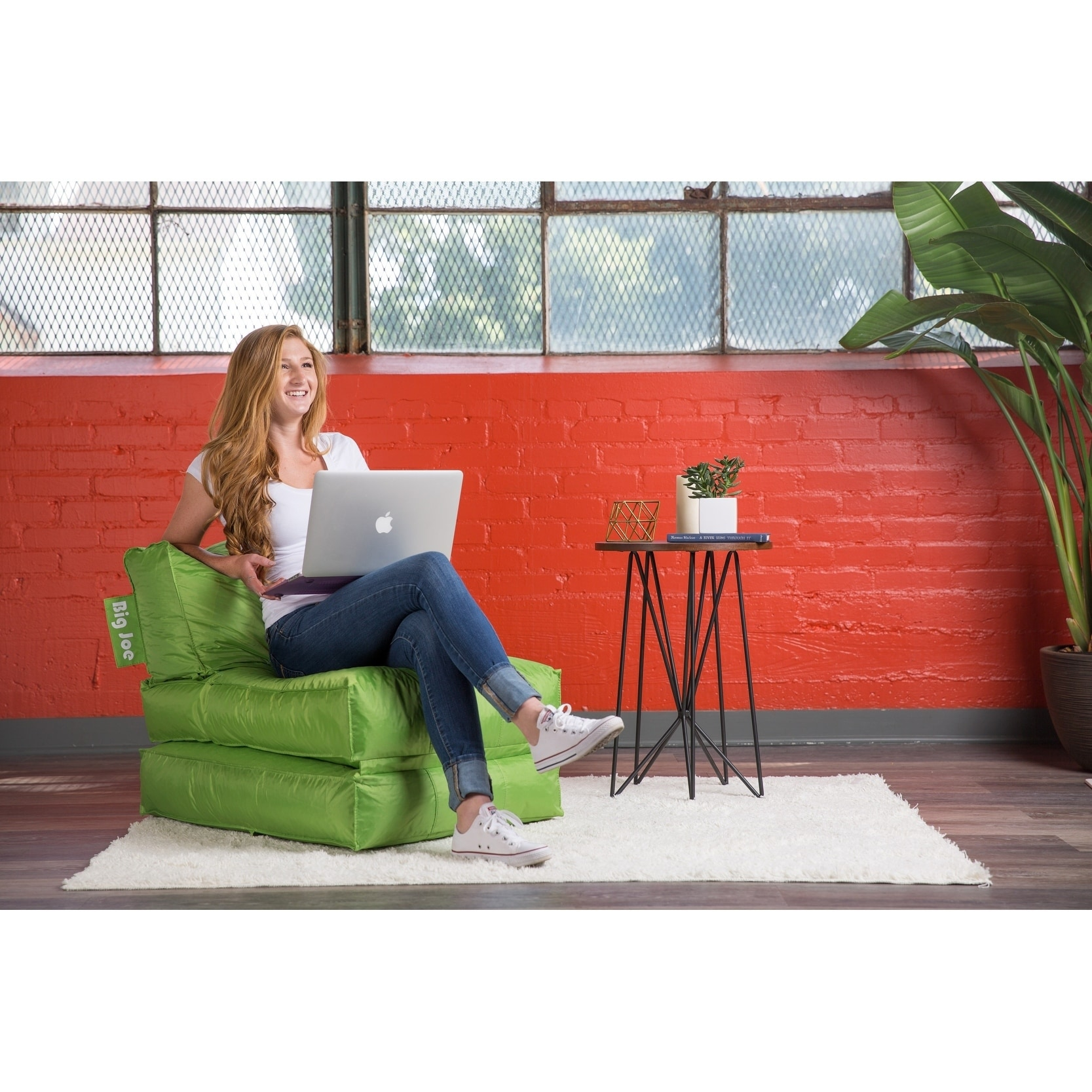 Big Joe Flip Lounger Bean Bag Chair (Green - Fabric - Pol...