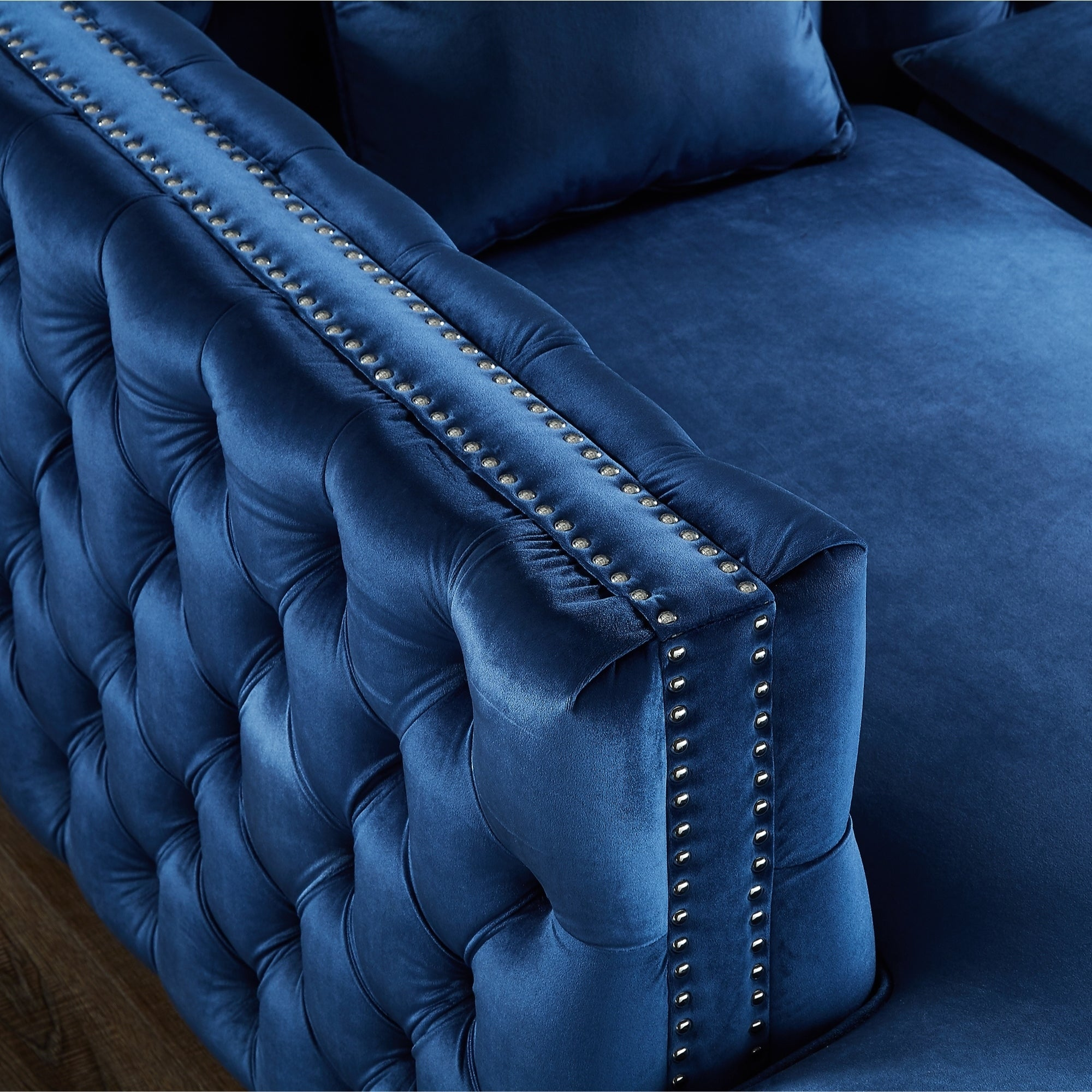 "115"" Dante Velvet Button Tufted Chaise Sectional Sofa (na..."