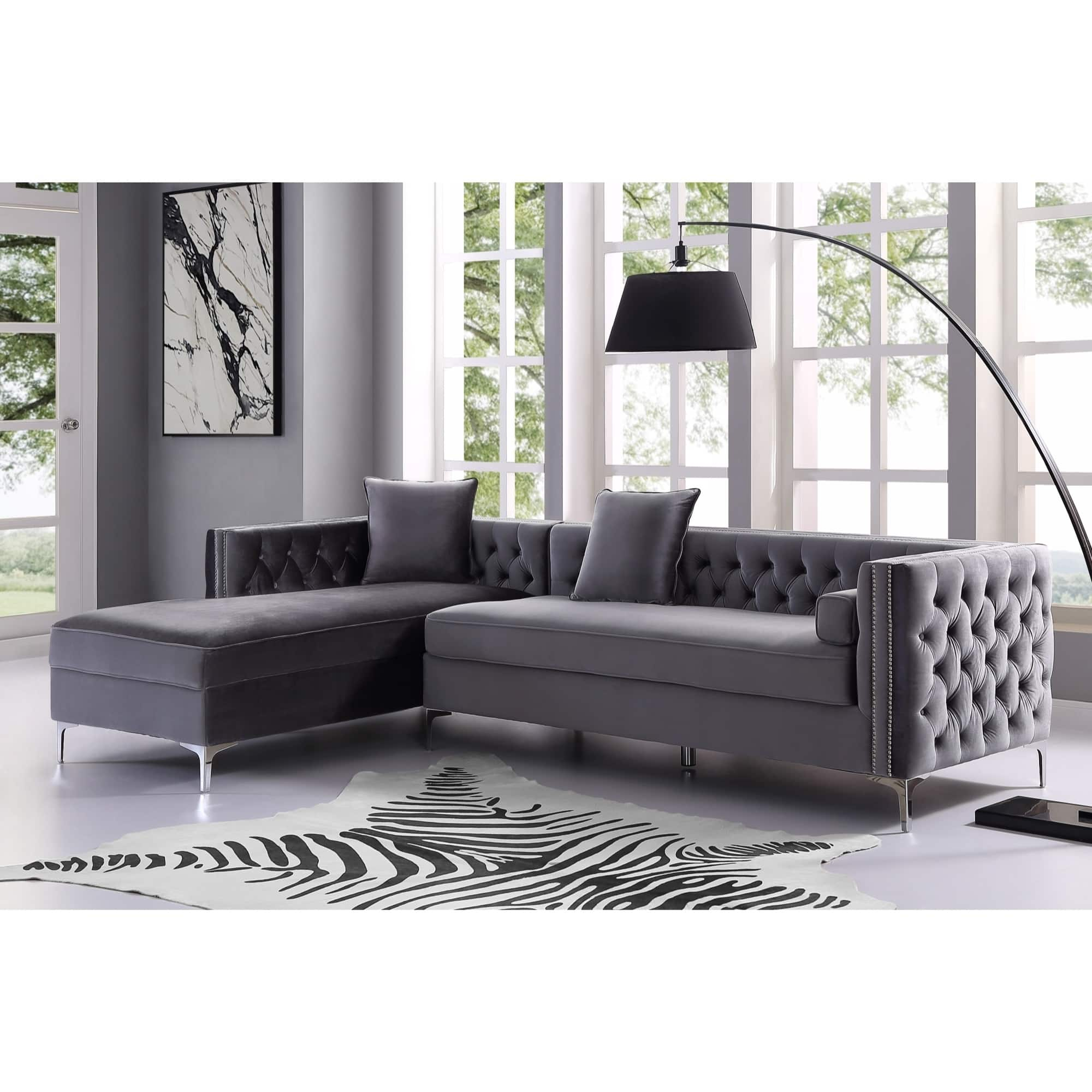 Sectional sofas for less for Button tufted chaise settee