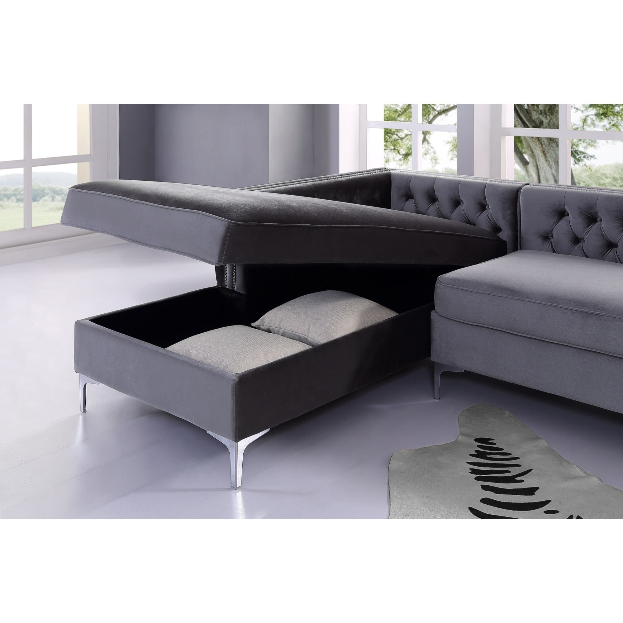 Sectional sofas for less for Button tufted chaise settee velvet
