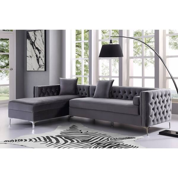 Velvet Chaise Sectional Sofa