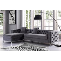 "115"" Dante Velvet Button Tufted Chaise Sectional Sofa"