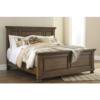 Flynnter Medium Brown Acacia Veneer Panel Headboard