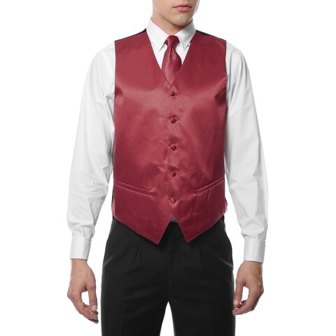 Ferrecci Mens 4 Piece Formal Solid Color Vest Set