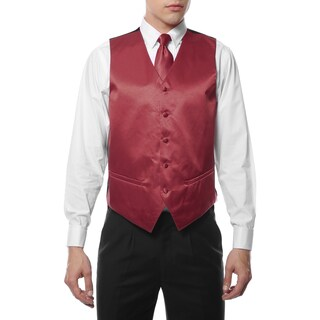 Ferrecci Mens 4 Piece Formal Solid Color Vest Set (More options available)