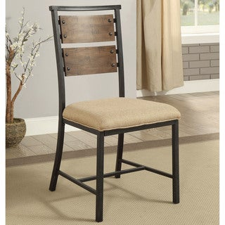Furniture of America Renatti Industrial Weathered Grey Metal/Pine Side Chair with Ivory Fabric Seat (Set of 2)