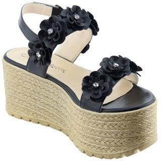 NATURE BREEZE Women's Slingback Buckle Strap Platform Lug Sole Sandals