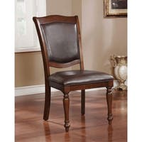 """Furniture of America Renoir Traditional Brown Cherry Side Chair (Set of 2) - 21""""W X 26""""D X 39""""H"""