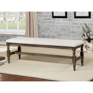 Furniture of America Isla Rustic Wire-Brushed Grey Upholstered Bench