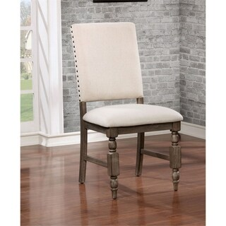 """Furniture of America Isla Rustic Wire-Brushed Grey Side Chair (Set of 2) - 20 3/4""""W X 25 1/2""""D X 41""""H"""