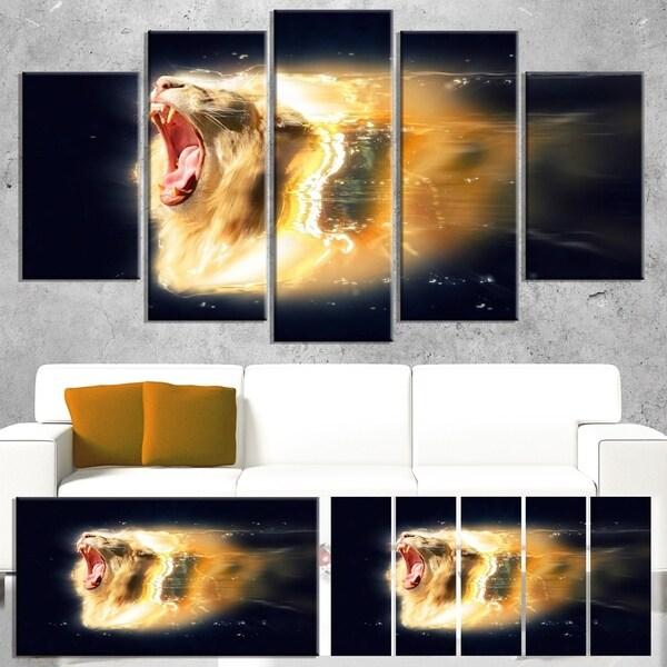 Shop Designart 'White Lion with Open Jaws' Large Animal Art on