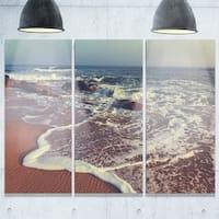Designart - Foaming Waves Kissing Wide Beach - Large Seashore Glossy Metal Wall Art - 36W x 28H 3 Panel