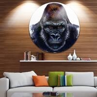 Designart 'Gorilla Male Illustration' Animal Glossy Metal Wall Art