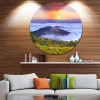 Designart 'Yellow Sunrise over Blue Waters' Landscape Photo Round Metal Wall Art