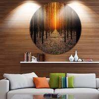 Designart 'Halloween-Themed Spooky Dark Forest' Forest Large Disc Metal Wall art