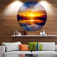 Designart 'Bright Yellow Sunset Over Lake' Seashore Round Wall Art