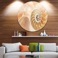 Designart 'Brown Nautilus Shell Pattern' Abstract Art Large Disc Metal Wall art