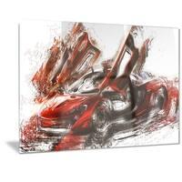 Designart 'Burnt Red Sports Car Metal Wall Art