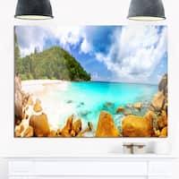 Seychelles Beach Panorama - Seascape Photo Glossy Metal Wall Art