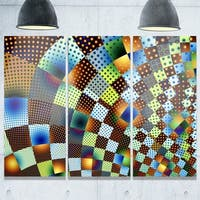 Fractal Geometric Ornament Design - Abstract Art Glossy Metal Wall Art - 36W x 28H 3 Panel