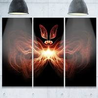 Fire in Middle Fractal Butterfly - Abstract Glossy Metal Wall Art - 36Wx28H - 36W x 28H 3 Panel