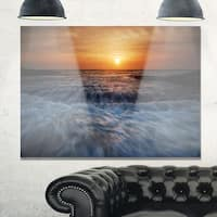 Sunrise over Rushing White Waves - Modern Beach Glossy Metal Wall Art