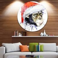 Designart 'Monkey Santa Clause' Animal Glossy Metal Wall Art