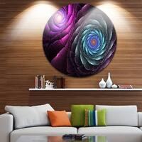 Designart 'Fractal Blue Purple Flower Digital Art' Floral Disc Metal Wall Art