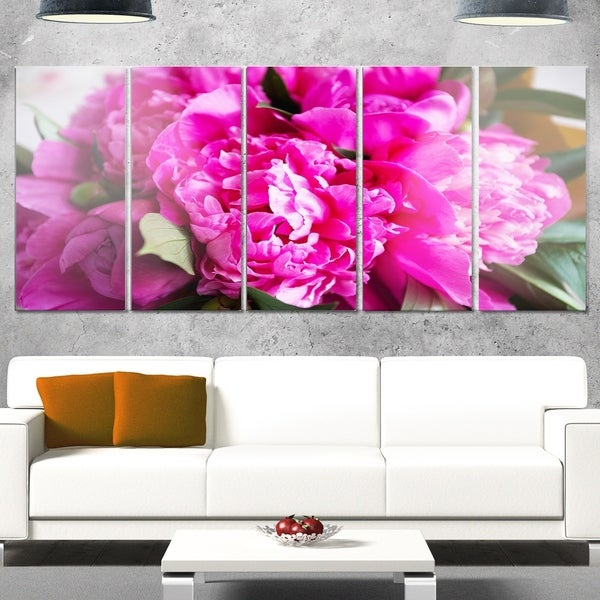 Designart \'Pink Peonies on Wooden Background\' Flower Glossy Metal ...