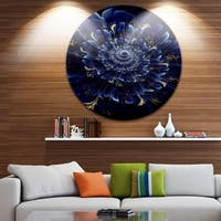Designart 'Blue Fractal Flower' Digital Art Floral Large Disc Metal Wall art