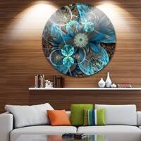 Designart 'Fractal Blue Flowers' Digital Art Floral Round Wall Art