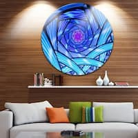 Designart 'Mysterious Psychedelic Fractal Pattern' Abstract Disc Metal Wall Art