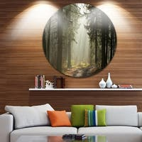Designart 'Dark Green Forest with Sun Rays' Landscape Photo Large Disc Metal Wall art