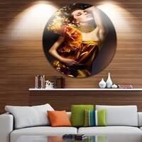 Designart 'Woman in Yellow Dress' Digital Art Portrait Circle Wall Art