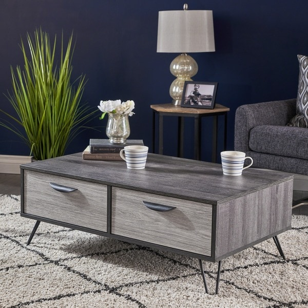 Beeja Mid Century Modern Faux Wood Coffee Table by Christopher Knight Home - Overstock - 19774551