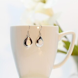 Handmade Lustrous Opal & Silver Earrings (India)
