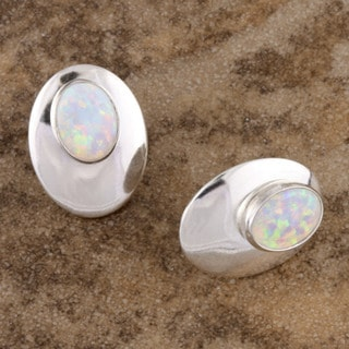 Handmade Brilliant Opal Pierced Earrings (India)