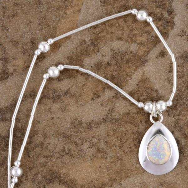 Handmade Silver White Opal Pendant (India)